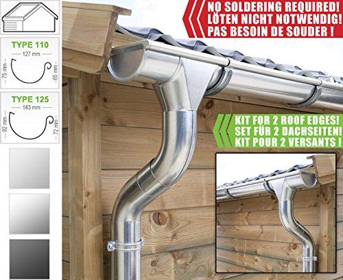 Zink Dachrinnen/ Regenrinnen Set | Satteldach (2 Dachseiten) | in Titanzink/ Verzinkt/ Anthrazit! Ideal für Gartenhaus oder Blockhaus. (Komplettes Set bis 5.10 m [Type 110], Verzinkt)