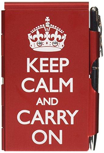 TROIKA Keep Calm – FN1580 – Flip Notes Metal case Including Blank Notepad – Clasp: Silver Ballpoint Pen (Black Refill) – Opening Mechanism – Aluminium – red – TROIKA-Original