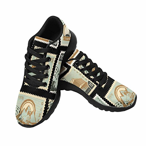 InterestPrint Womens Trail Running Shoes Jogging Lightweight Sports Walking Athletic Sneakers Stamps From Different Countries With Landmarks Multi 1 XXbwjN