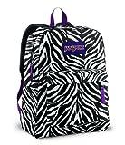 Jansport Backpack Superbreak Zebra Stripes Black and White for School Work or Play, Bags Central