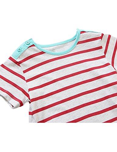 Petites Filles Robe Imprimé Flamant Rose Rayure Coton Bambin Manches Courtes Bande Dessinée Robes De Soirée Rose