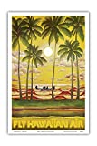Hawaii - Fly Hawaiian Air - Hawaiian Airlines - Vintage Airline Travel Poster c.1960s - Master Art Print - 12in x 18in