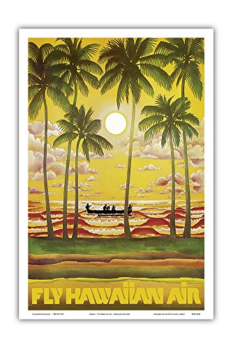 Hawaii - Fly Hawaiian Air - Hawaiian Airlines - Vintage Airline Travel Poster c.1960s - Master Art Print - 12in x 18in (1960 Poster)