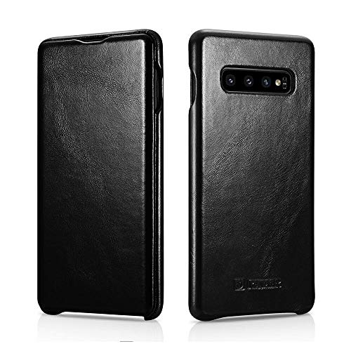 ICARER Galaxy S10 Plus Case, Vintage Series Ultra Slim Genuine Leather Flip Folio Case Side Open Cover Curve Edge Protection for Samsung Galaxy S10 Plus (Black)