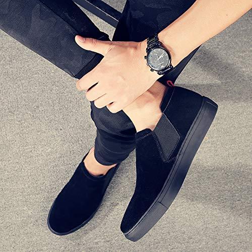 Wild Calzado Perezoso Para Trend Cuero Zapatos Zapato De Background Black Eaojrscsa Hombre Casual AnHxH