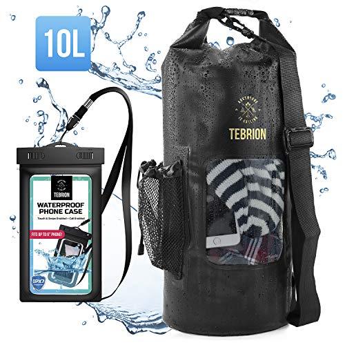TEBRION 10L Premium Waterproof Dry Bag + 1 Waterproof Phone Case - Roll Top Sack Keep Gear Dry and Safe, Black