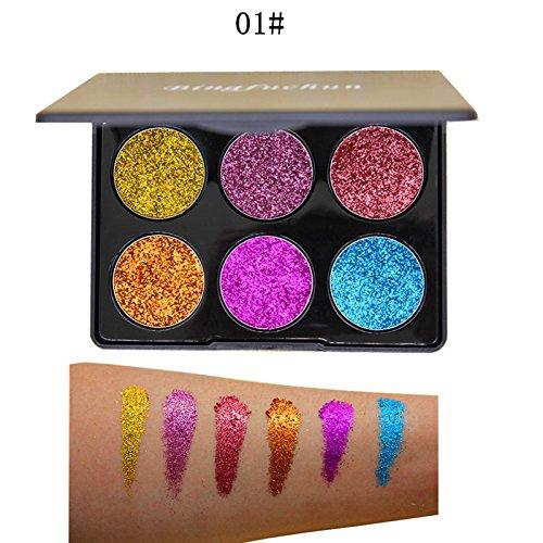 Eyeshadow Palette Hosamtel 6 Colors Glitter Shimmer Bright Colorful Waterproof Makeup Eye Shadow Powder Set Eyeshadow Palette Makeup To Faced Cosmetics make up set