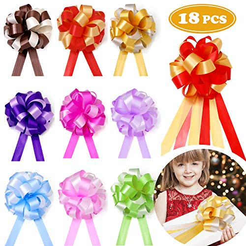 (18 Pcs Pull Bows Christmas Gift Wrap Ribbon Present Wrapping Accessories for Boxes Bags Baskets Wedding Party Decorations)