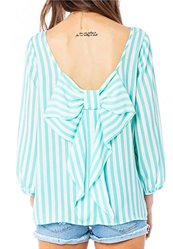 SHOPGLAMLA Bow Back Shift Solid Chiffon Bishop 3/4 Sleeves Scoop Neck Top Blouse Made In USA Stripe Thin - Mint S