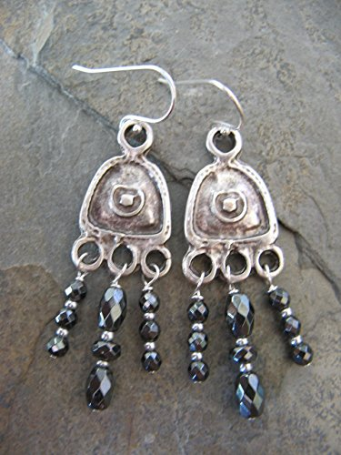 Dangling Hematite Gemstone Mixed Metals Earrings on Sterling Silver Earring Wires Boho Jewelry