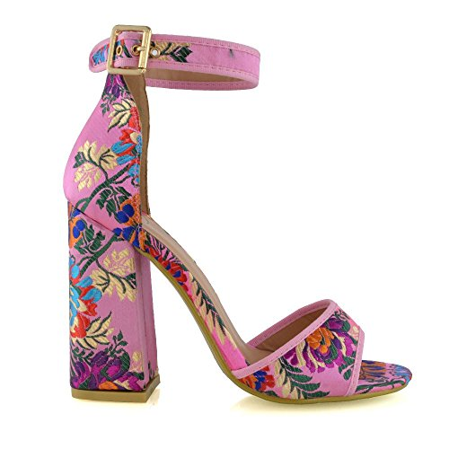 (ESSEX GLAM Women's Pink Floral Satin High Heel Ankle Strap Peep Toe Sandals 8 B(M) US)