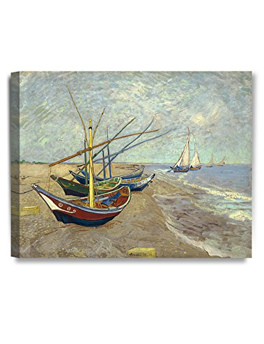 DecorArts - Boats At Saintes Maire, Vincent Van Gogh Art Reproduction. Giclee Canvas Prints Wall Art for Home Decor 20x16