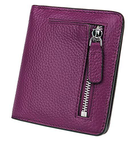 BIG SALE-AINIMOER Women's RFID Blocking Leather Small Compact Bifold Pocket Wallet Ladies Mini Purse with id Window (Dark Magenta) ()