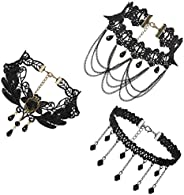 JewelryWe Jewelry 3 PCS Choker Collar Necklace Set Black Stretch Velvet Classic Gothic Tassels Tattoo Lace Cho