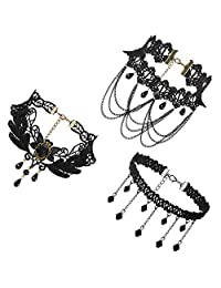 JewelryWe Jewelry 3 PCS Choker Collar Necklace Set Black Stretch Velvet Classic Gothic Tassels Tattoo Lace Choker Necklaces Chains for Ladies Girls, for Halloween