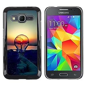 TECHCASE**Cubierta de la caja de protección la piel dura para el ** Samsung Galaxy Core Prime SM-G360 ** Sunset Idea Light Bulb Clever Idea