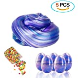 XinXinLe Soft Egg Slime Clear Colorful Crystal Scented Stress Relief Toy (5 Pack) (blue)