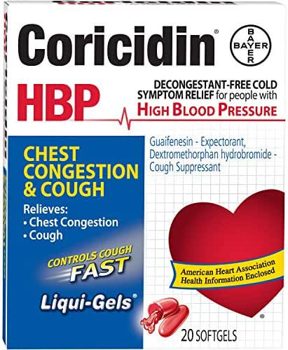 Coricidin HBP Chest Congestion & Cough Liquid Soft Gels, 20 ct