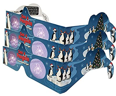 3D PENGUINS Christmas Glasses - 3 PAIR - Holiday Specs - Transform Christmas Lights Into Magical Penguin Images