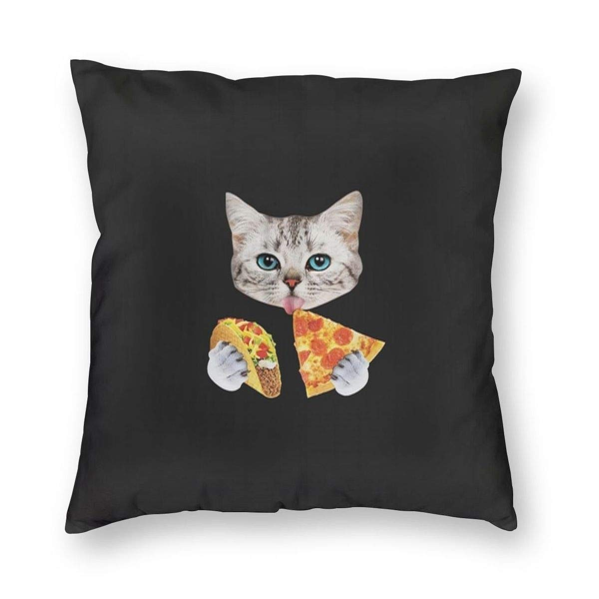 YongColer Decorative Throw Pillow Case Indoor Outdoor Cushion Cover Pillowcase for Sofa,Cat with Taco and Pizza Black