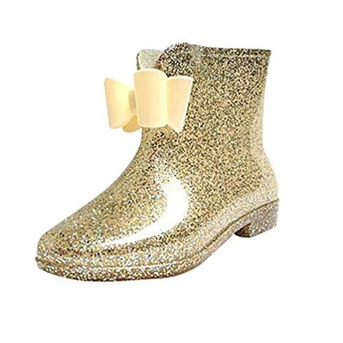 LvRao Botines de Lluvia Impermeable el Tacón Alto de las Mujeres Botas de Goma Zapatos de Agua dorado