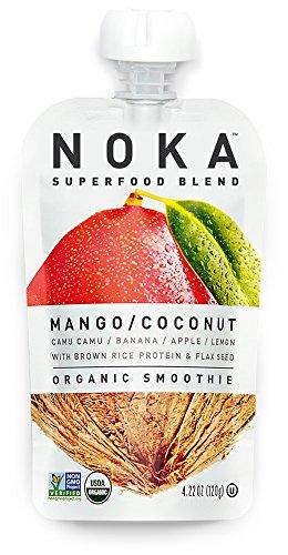 , Organic Fruit & Veggie Smoothie Squeeze Pack, Mango Coconut, 4.2 Ounces, (Pack of 6 pouches) (Coconut Mango Fruit)