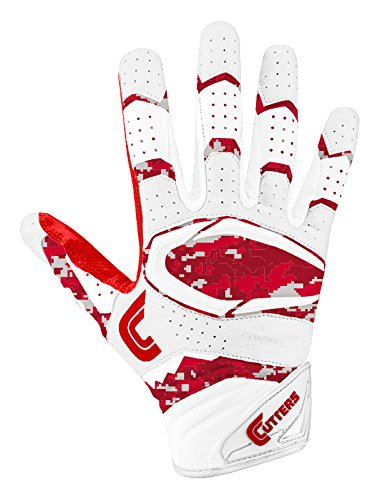 Cutters Gloves S451 Rev Pro 2.0 Receiver Cornerback Gloves With C-Tack Grip, RED/CAMO, Adult S (Grip Cutter)