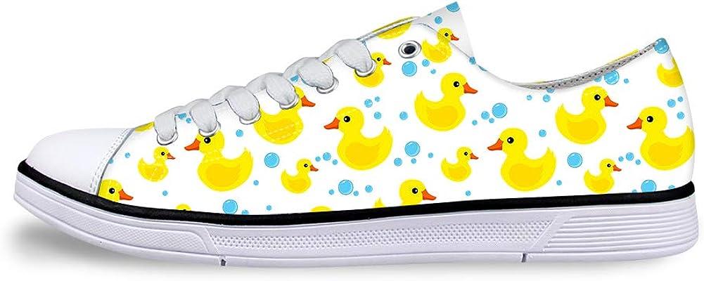 Canvas Sneaker Casual Skate Shoe Mens Womens Rubber Duck Water Drops Bubbles