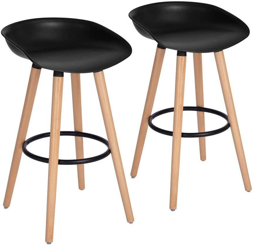 FurnitureR Bar Chair Pub Bar Height Barstool Modern Industrial Dining Bar Stool Chairs with PP Seat Backrest and Wooden Leg Set of 2 for Coffee Shop, Bar, Home Balcony-Black