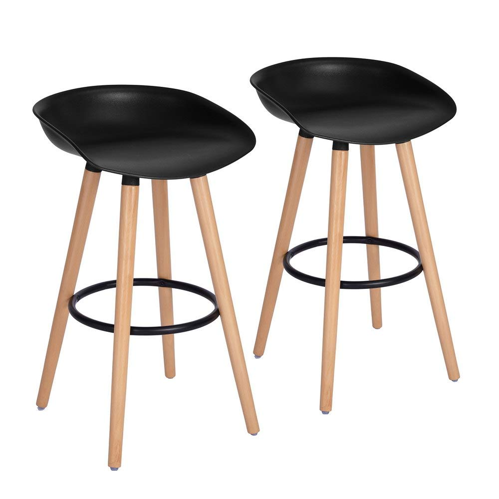 FurnitureR Bar Chair Pub Bar Height Barstool Modern Industrial Dining Bar Stool Chairs with PP Seat Backrest and Wooden Leg Set of 2 for Coffee Shop, Bar, Home Balcony-Black by FurnitureR