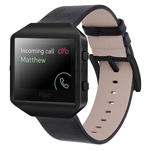 KADES Fitbit Blaze Leather Band Lichi Texture with New Stainless Steel Frame Black Buckle (Black Band + Black Frame, - Frames New