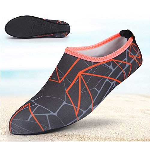 Adult Water Shoes Men Women Quick Dry Barefoot Beach Shoes for Yoga Swim Surf Excrise gray printed bALa3