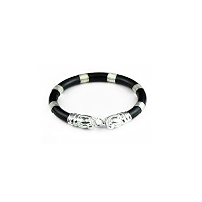 3e4294d32f3 Image Unavailable. Image not available for. Colour: Arisidh 925 Sterling  Silver Rubber Elephant Kada for Boys Women Girls and Men (Black)