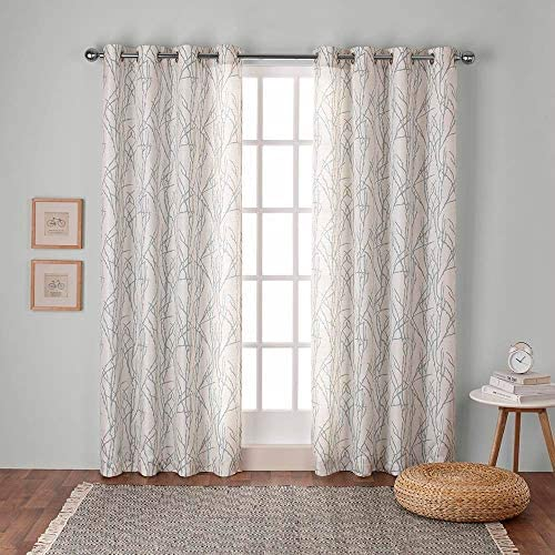 Exclusive Home Curtains Branches Linen Blend Window Curtain Panel Pair with Grommet Top, 54×84, Seafoam, 2 Piece