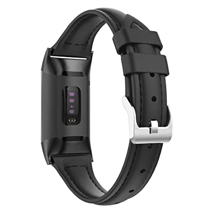UMTELE Compatible for Fitbit Charge 3 Leather Bands, Slim Genuine Leather  Wristband Strap Replacement with Fitbit Charge 3 & Charge 3 SE Fitness