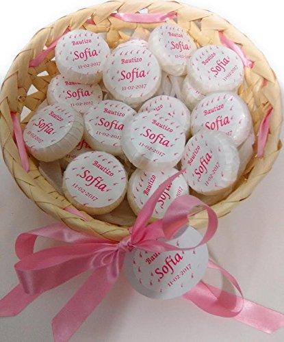 Cestito rosa, oro o azul, con 25 jabones personalizados para boda.bautizo...: Amazon.es: Hogar
