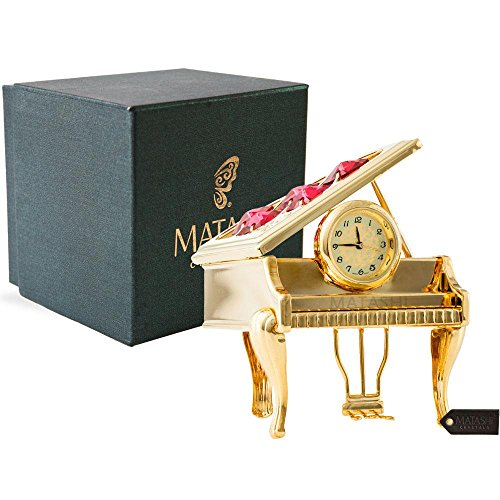 Matashi 24K Gold Plated Vintage Piano Desk Clock- Gift for New Year, Valentines Day for Shelf Desktop Tabletop Clock with a Luxury Gift Box, Gold with Red Crystals (2.5 x 2 x 3 inches)