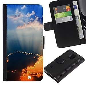 JackGot ( Tramonto Beautiful Nature 94 ) Samsung Galaxy S5 V SM-G900 la tarjeta de Crédito Slots PU Funda de cuero Monedero caso cubierta de piel
