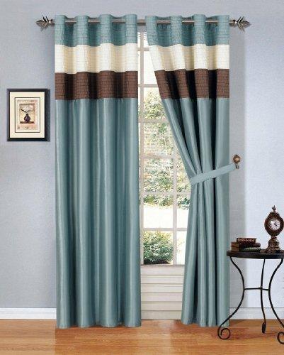 MODERN BLUE BROWN BEIGE Faux Silk Taffeta Grommet Window Curtain Drape Set 108
