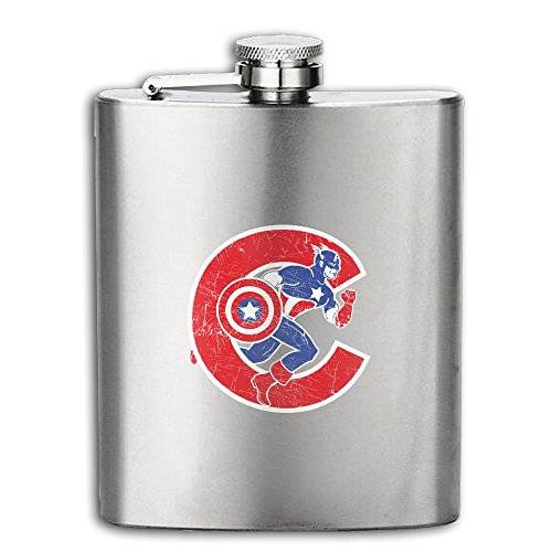 Captain America Chicago Cubs Logo Hip Flask Portable Stainless Steel Flagon Wine Bottle