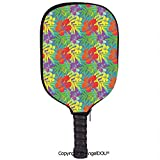 AngelDOU Luau Lightweight Neoprene Durable Pickleball Paddle Cover Abstract Modern Stylized Vibrant Tropical Plants Hibiscus Artistic Essence Display Holder Sleeve Case Protector.Multicolor