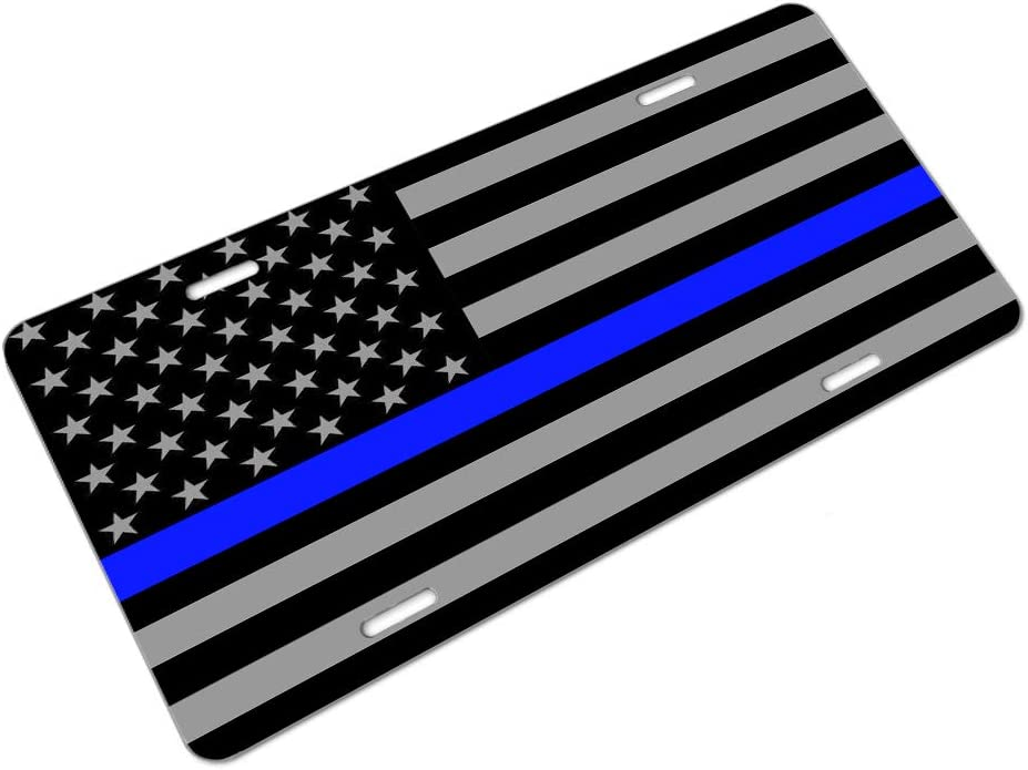 Amcove License Plate Thin Blue Line Police Flag Decorative Car Front License Plate,Vanity Tag,Metal Car Plate,Aluminum Novelty License Plate for Men//Women//Boy//Girls Car,6 X 12 Inch
