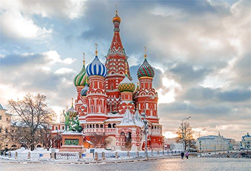 OFILA Saint Basil's Cathedral Backdrop 7x5ft Red Square Russia Grand Architecture Historical Building Religion Belief Landmark Dome Museum Cutural Heritage Travel Photos Studio Props