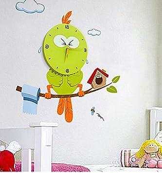 Wall Clocks 3D Creative Decoration Art Clock DIY Wall Clock Peel and Stick Wall Clock with Cute and Funny Design for Kids Room Nursery Home Decor,Wonderful School Day Gift Bird