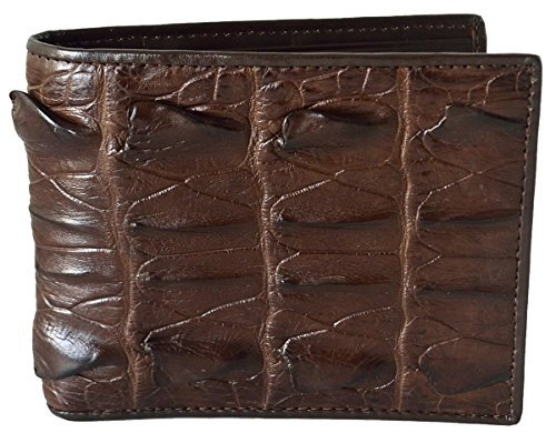 Authentic M Crocodile Skin Men's Bifold Crocodile Big Tail Skin Leather Wallet (Dark (Exotic Skin Wallets)