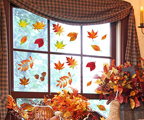 Moon Boat 120pcs Fall Leaves Window Clings Thanksgiving
