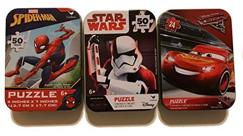 3 Collectible Girls/Boys Mini Jigsaw Puzzles in Travel Tin Cases: Marvel Disney Kids Star Wars Storm Trooper, Spiderman, Cars Gift Set Bundle -