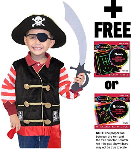 Pirate: Role Play Costume Set + Melissa & Doug Scratch Art Mini-Pad Bundle (Pirate Costume Melissa And Doug)