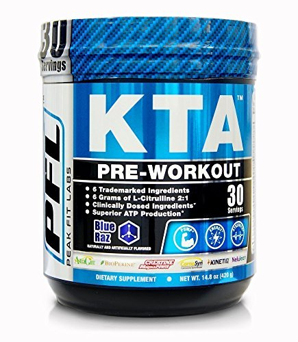 KTA Pre Workout Powder, 6 Trademarked Ingredients, 6 Gr L-Citrulline, 3.5 Gr Creatine, 7mg BCAA's, Blue Raz Nitric Oxide, Sports Supplement Pre-Workout Drink Providing Energy, Strength Muscle & Pumps