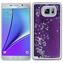 Purple Stars Clear Liquid Water Glitter Bling Case Cover For Samsung Galaxy S 6 S6 Edge Plus with Free Pouch